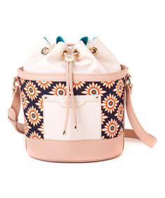 Look at this Pink Leather Tybee Drawstring Bucket Bag on #zulily today!