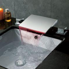 LED Bathroom Basin Brass Sink Waterfall Chrome Finish Mixer Tap 3PCS Faucet