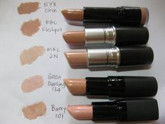 Nude shades of lipstick