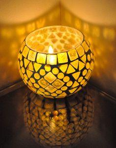Vintage Candle Holder Glass Diya Lamp Tea Light Holder