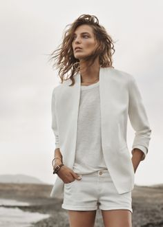 Linen-blend straight blazer