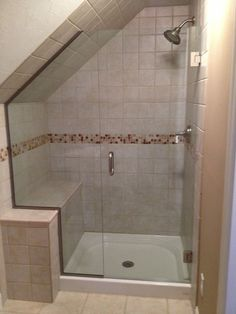Franklin Glass Shower Door More Attic Shower, Small Attic Bathroom, Bathroom Shower Panels, Loft Bathroom, Upstairs Bathrooms, Glass Shower Doors, Bathroom Renos, Bathroom Layout, Bathroom Renovations