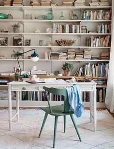 46 Inspiring Spring Home Office Decorating Ideas - Trendehouse Home Office, Office Desk, Anthropologie Home, Wood Desk, Spring Home, Spring 2016, Interior Inspiration, Bookshelf Inspiration, Workspace Inspiration