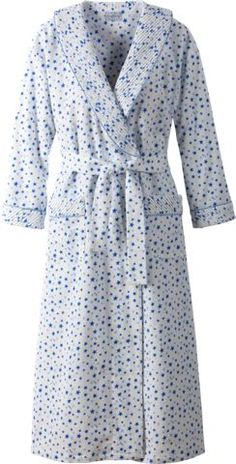 Lanz cotton flannel wrap robe with shawl collar provides cozy warmth on chilly mornings and nights. This flannel wrap robe blends comfort and style seamlessly.