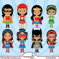 African American Superhero girls clipart Girl by PentoolPixie