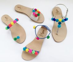 Handmade leather sandals with POM POM
