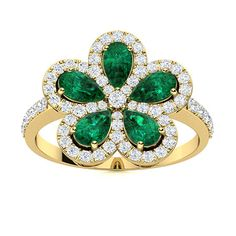 Sparkling fire dances as you watch this mesmerizing floral Emerald ring in 14k Yellow Gold. A stylish piece that is sure to capture the eye. We only use Natural AAAA Emeralds which are the top 15% of all real / genuine Emeralds available. They are rich green, moderately to slightly included and exhibit high brilliance. Thoughtful Engagement Gifts, Natural Emerald Rings, Love Ring, Emeralds, Cocktail Rings, Shades Of Green, Exhibit, Vintage Rings, Ring Designs