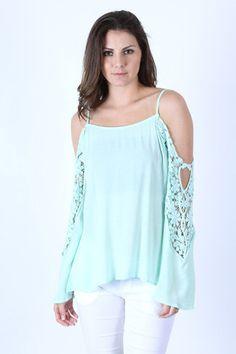 Mint Crochet Challis Top – LaV's Boutique