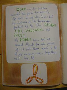 Waldorf ~ 4th grade ~ Norse Mythology ~ Norns ~ main lesson book