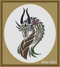 Cross Stitch Pattern Silhouette Dragon tattoo tribal от HallStitch