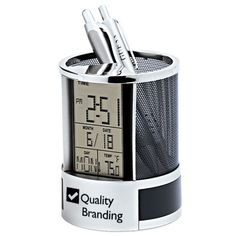 World Time Alarm Clock And Calculator Desk Set With Pen Holder Fine Quality Calender