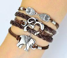 Búhos, OM encantos de yoga y elefante Brazalete con dijes en plata - Personalice su regalo Style-personalizada-Amistad propio - regalo de dama de honor