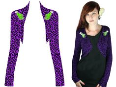 Zombie Hands Shrug in Purple Leopard Cardigan by Too Fast Clothing