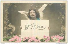 CPA -  ENFANT - FILLETTE - LITTLE GIRL - MAEDCHEN -  ANGE - BONNE  FETE  -  jolie fantaisie