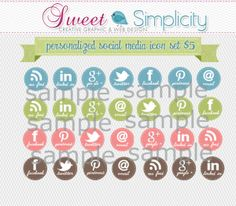 Girly Social Media stickers Facebook Twitter pinterest