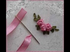 How to make silk ribbon embroidered carnation flowers - YouTube