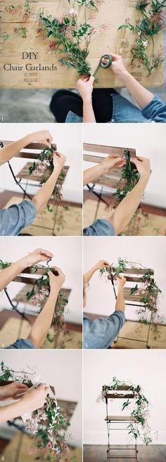 DIY wedding chair garland idea tutorial