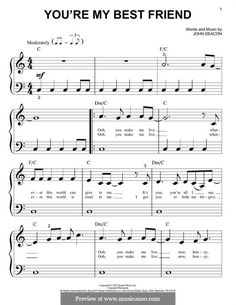 You're My Best Friend (Queen): For piano by John Deacon Music Guitar, Guitar Chords, Music Lyrics, Guitar Scales, Music Music, Freddie Mercury Songs, Marching Music, Best Friend Lyrics, Queen Lyrics