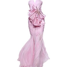 Basil Soda - edited by Satinee ❤ liked on Polyvore featuring dresses, gowns, long dresses, vestidos, pink gown, pink evening dress, long pink dress and pink ball gown