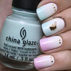 Soft gradient with China Glaze + unicorn ;)