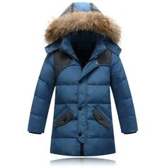 Boy's Down Jackets Children's Long Model Thickening Warm Jackets real fur Kids Casual Down Coats