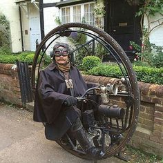 From @westytim - I'd love a go on this. #steampunk #bigwheel #monowheel #cycle #monocycle