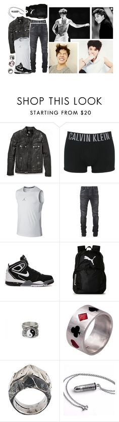 """Oorn - late ootd [ Jimin ]"" by believe-in-you-always ❤ liked on Polyvore featuring McQ by Alexander McQueen, Calvin Klein Underwear, NIKE, Balmain, Puma, Edge Only, Lost & Found, men's fashion and menswear"
