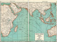 1937 Map of the Indian Ocean from World Atlas.