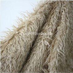Cheap Khaki ricci mongolo pecore faux fur tessuto, faux gilet di pelliccia…