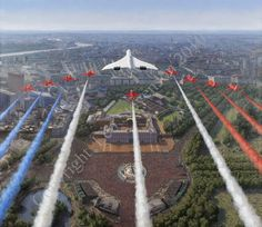 Concorde and the Red Arrows flying down the Mall and over Buckingham Palace during the Queens Jubilee celebrations. Sud Aviation, Civil Aviation, Concorde, Military Jets, Military Aircraft, Air Fighter, Fighter Jets, Raf Red Arrows, Red Arrow Plane