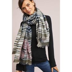 Anthropologie Floral Overlay Wool Scarf ($68) ❤ liked on Polyvore featuring accessories, scarves, grey motif, floral scarves, grey shawl, anthropologie, gray shawl and wool scarves