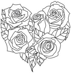 Rose Coloring Pages, Adult Coloring Pages, Coloring Books, Heart Rose Drawing, Tattoo Drawings, Art Drawings, Urban Threads, Wood Burning Patterns, Heart Art