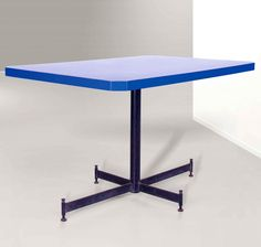Ignazio Gardella; Enameled Metal and Plastic-Laminated Wood Cafeteria Table for ICO by Olivetti, 1955.
