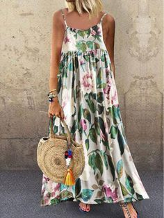 Spaghetti Strap Floral Printed Maxi Dress Online store for the latest fashion & trends in women's collection. Shop affordable ladies' Dresses, Clothing, Shoes & Accessories with top quality. Cheap Maxi Dresses, Cheap Dresses Online, Plus Dresses, White Maxi Dresses, Casual Dresses, Summer Dresses, Dress Online, Summer Maxi, Floral Dresses