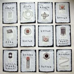 https://flic.kr/p/3Fhn9   notions atcs   series of twelve atcs, machine sewn collage with muslin, copies from vintage catalog, letter stamps, and sewing notions, traded