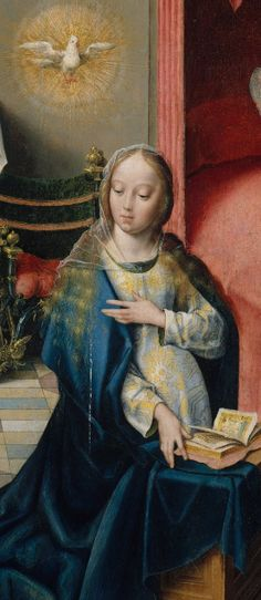 Joos van Cleve (ca. Netherlandish): The Annunciation (ca. oil on wood, detail, Metropolitan Museum of Art, New York). dove of Peace. Madonna, Renaissance Paintings, Renaissance Art, Religious Icons, Religious Art, Robert Campin, Medieval, Religion Catolica, Statues