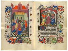 Christ before Caiaphas Christ Mocked | MS M.945, ff. 52v–53r | The Morgan Library & Museum