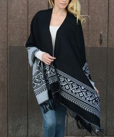 Another great find on #zulily! Black Western Ruana #zulilyfinds