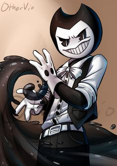 (Cake-a-tron's Bendy by OtherVio) Water bending or should i say ink bendy ing Fnaf, O Maskara, Bendy Y Boris, Character Art, Character Design, Villainous Cartoon, Alice Angel, Bendy And The Ink Machine, Old Cartoons