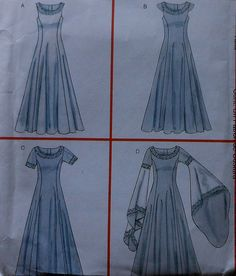 3e9219429fcf Princess   Queen Gown Costume Sewing Pattern UNCUT McCalls M4491 Sizes  14-20 Renaissance Gothic sleeves Sleeveless Short Sleeves Wedding
