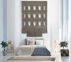 Milla Novo creates exclusive macrame wallhangings for high-end interiors. These unique art is hand made by Milla Novo in her studio near Amsterdam. Bedroom Wall, Bedroom Decor, Wall Decor, Apartment Walls, Diy Room Divider, Interior Decorating, Interior Design, Decorating Ideas, Micro Macramé