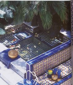 A Truly Moorish mosaic tiled bathtub...le sigh..designed by Sig Bergamin and featured in an Elle decor book