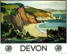 Poster produced for Great Western Railway (GWR) to promote rail travel to Devon. The poster shows a view of the beautiful landscape typical of the area, with green-topped cliffs dropping down to a sandy beach and the clear blue sea England Travel Poster, Devon England, Devon Uk, Oxford England, Cornwall England, Yorkshire England, Yorkshire Dales, London England, British Travel