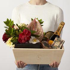 Simone LeBlanc Decadent Celebration Gift Box with Flowers + Champagne