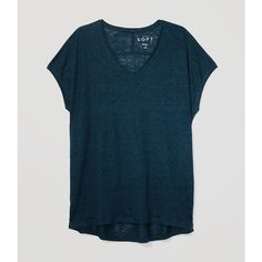 LOFT Petite Slouchy Linen Tee ($35) ❤ liked on Polyvore featuring tops, t-shirts, ominous teal, blue t shirt, blue tee, teal t shirt, slouchy v neck tee and side slit tee