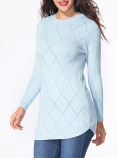 Crew Neck Hollow Out Plaid Plain Sweater Only $19.95 USD More info...