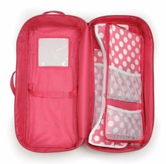 Badger Basket Doll Travel Case with Bed and Bedding - Dark Pink (fits American Girl dolls) Ag Dolls, Girl Dolls, Cosas American Girl, American Girl Doll Sets, Doll Carrier, Our Generation Dolls, Baby Alive, Pink Bedding, Bitty Baby