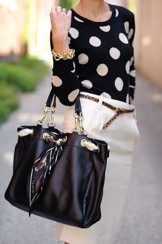 Chic large print polka dot sweater paired with a cream pencil skirt, animal print belt, chunky gold bracelet and Gucci bag --so classy : )