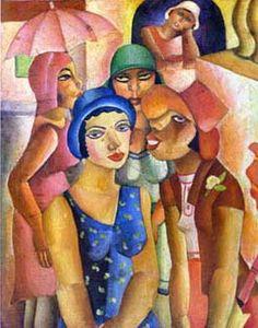 Di Cavalcanti (1897/1976)    Di Cavalcante Nasceu no Rio de janeiro, foi pintor, ilustrador e caricaturista, desenhista de jóias, tapetes e painéis. 'A Semana de Arte Moderna de 1922' foi idéia sua.    Quadro 'Cinco Moças de Guaratinguetá'