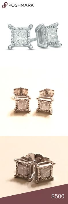 ZALES 1/2 CT princess cut diamond 10k Price kept at $500 for you to have free authentication! This pair is unique in that there's white gold surrounding the diamonds, thus giving off the illusion that they are larger than what they truly are (1/2 ct total diamond weight). Studs measure 1/4 inch on each side. 10k white gold. Comes with box! In the last photo, you can see that one of the earrings has a slightly bent post. Will clean/sanitize before shipping. Make offer OR bundle 3+ for 15%…